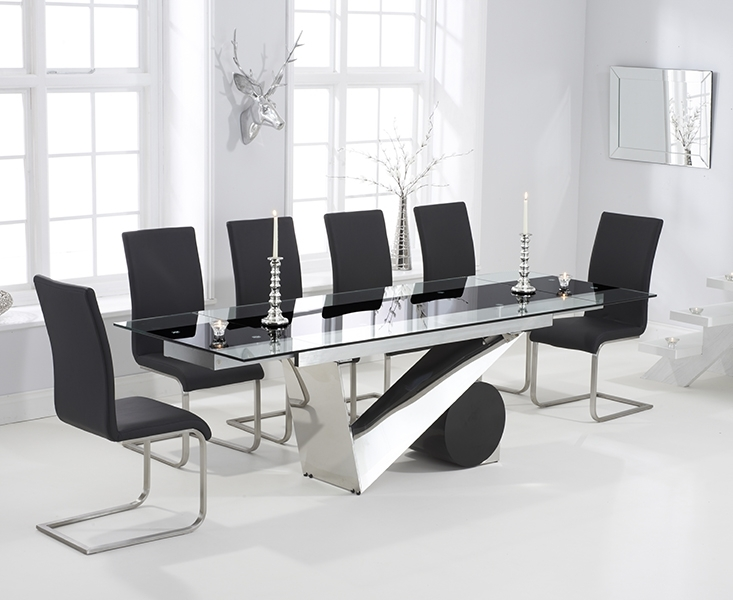 Pretoria 170Cm Extending Black Glass Dining Table With Malaga Chairs Intended For Glass Extending Dining Tables (Image 19 of 25)