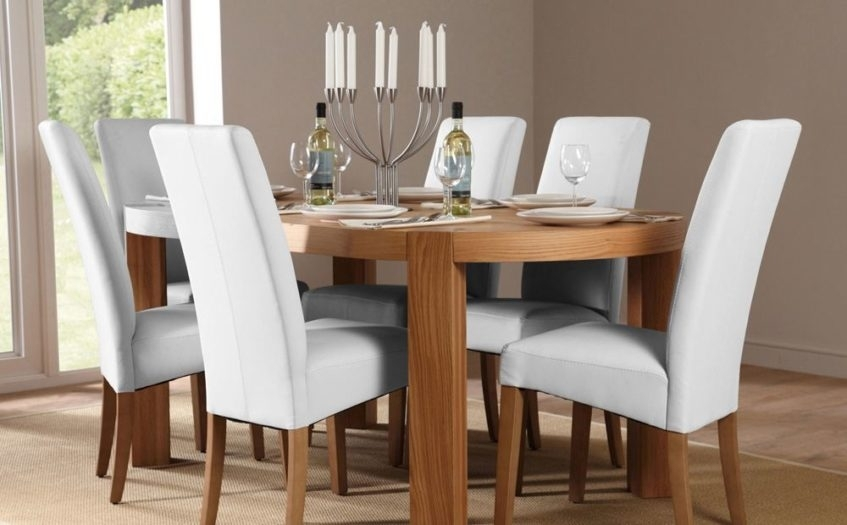 Preview Medium: Grey Dining Chair Trend Including Room Chairs White Throughout White Leather Dining Room Chairs (Image 14 of 25)