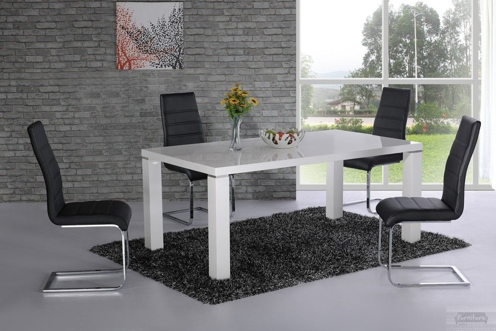 Price : £210.00 Danata White High Gloss Dining Table: High Street regarding White High Gloss Dining Tables And Chairs