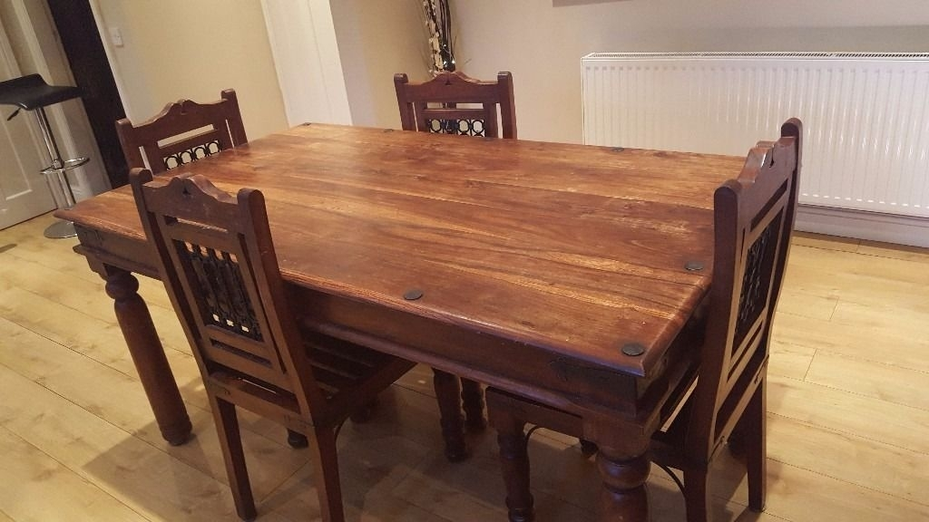 Price Lowered! Indian Rosewood Sheesham Dining Table And 4 Chairs Pertaining To Indian Dining Room Furniture (Image 22 of 25)