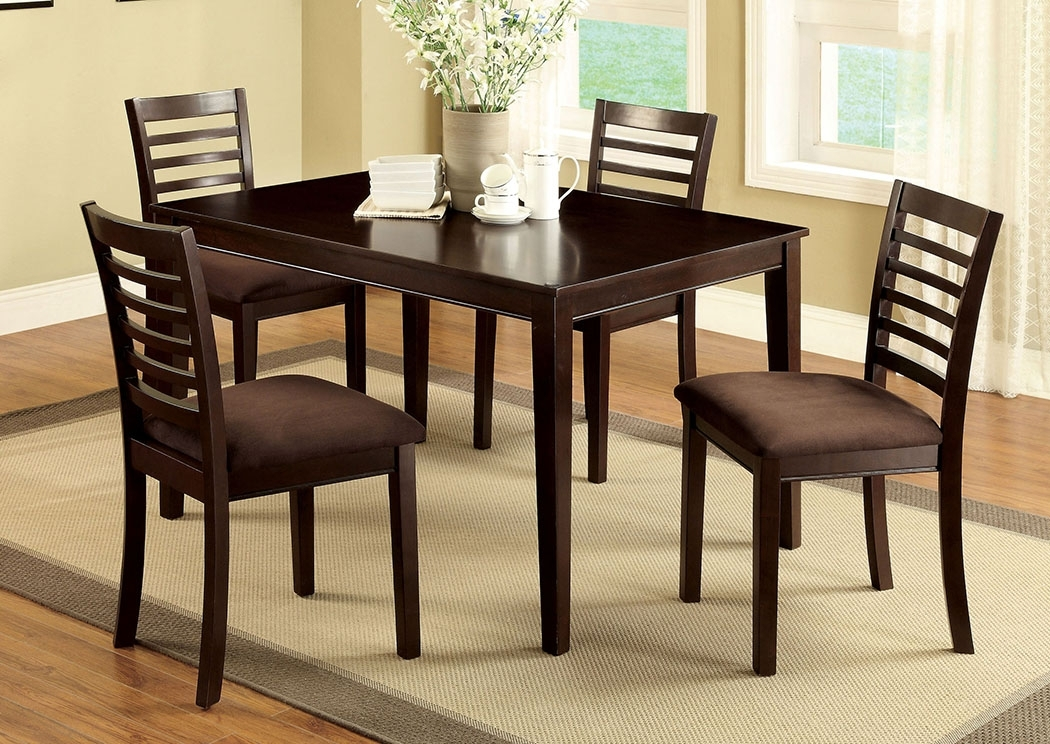 Price's Home Furnishings Eaton I Espresso 5 Pc Dining Table Set Inside Jaxon 5 Piece Extension Round Dining Sets With Wood Chairs (Image 20 of 25)