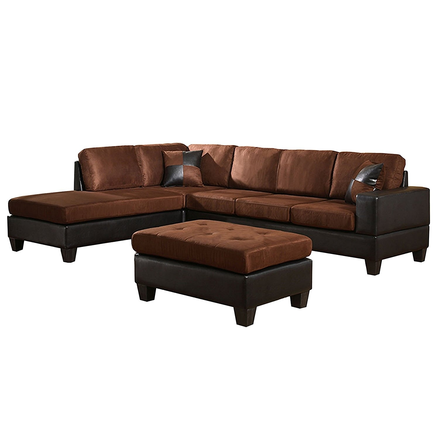 Pride Sierra Microfiber Sectional Sofa With Ott Couch Storage Left With Delano Smoke 3 Piece Sectionals (Image 16 of 25)
