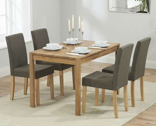 Promo 120 Cm Solid Oak Dining Table + 4 Maiya Grey Fabric Chairs Regarding Dining Tables And Fabric Chairs (View 9 of 25)