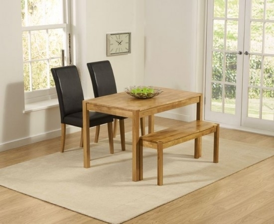 Promo 120Cm Solid Oak Dining Table + 2 Atlanta Black Leather Chairs Intended For Oak Dining Tables And Leather Chairs (View 22 of 25)