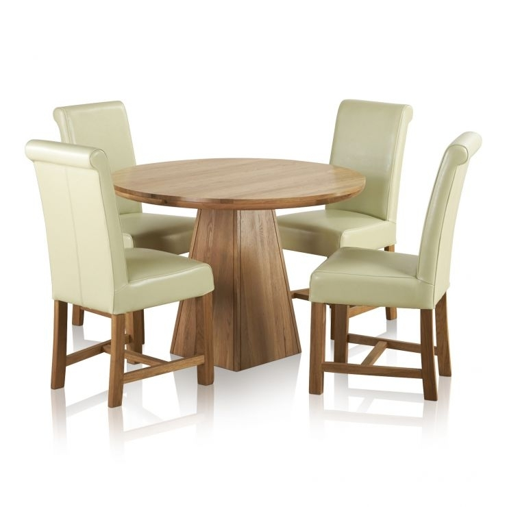 Provence Dining Set In Real Oak: Table + 4 Leather Cream Chairs For Provence Dining Tables (View 17 of 25)