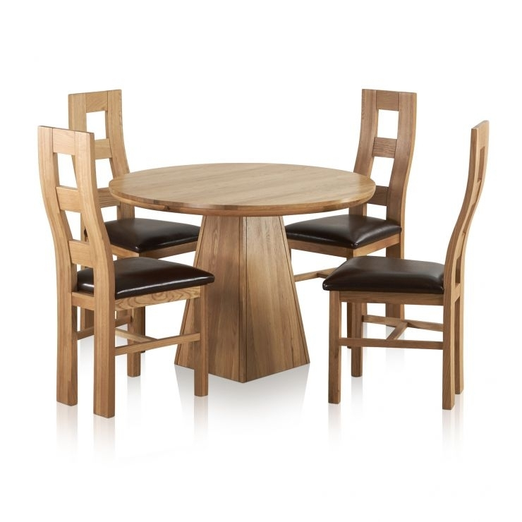 """Provence Solid Oak Dining Set – 3Ft 7"""" Table With 4 Chairs With Oak Dining Sets (Image 16 of 25)"""