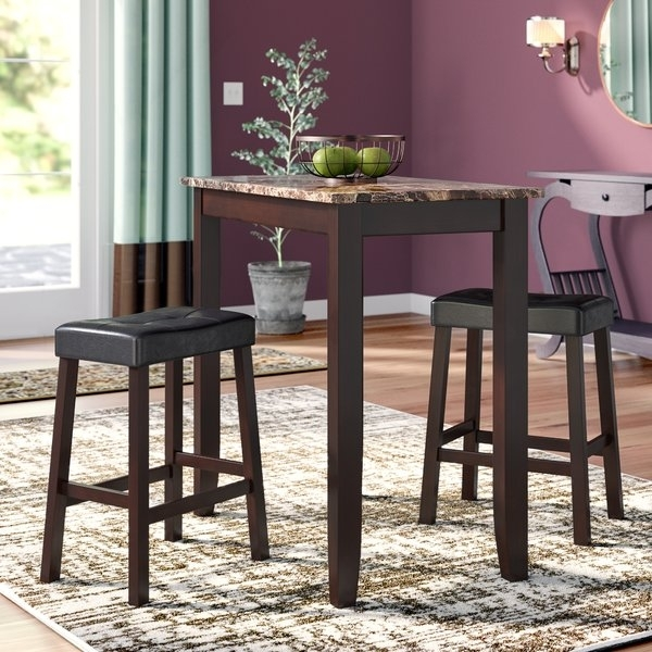 Pub Style Table Set   Wayfair Inside Jaxon 5 Piece Extension Counter Sets With Wood Stools (Image 22 of 25)