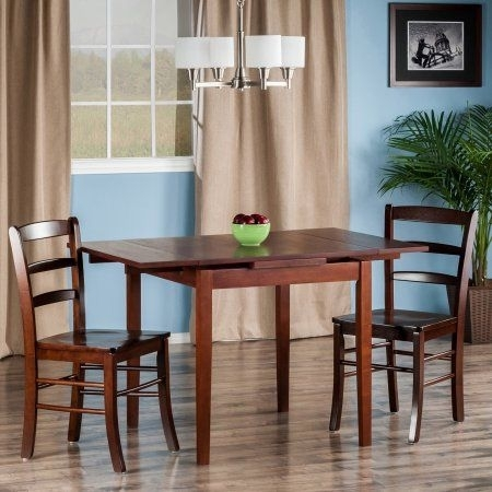 Pulman 3 Pc Set Extension Table 2 Ladder Back Chairs, Brown | Pc Intended For Rocco 9 Piece Extension Counter Sets (View 8 of 25)