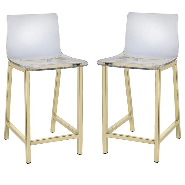 Pure Decor Clear Acrylic Counter Stool – Set Of 2 (Counter Stool Set With Regard To Laurent 7 Piece Counter Sets With Upholstered Counterstools (Image 11 of 25)