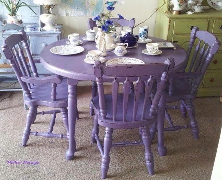 Purple Antique Shabby Chic Mahogany Dining Table & Chairs (Image 14 of 25)