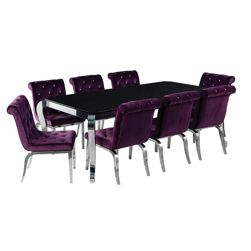 Purple/ Chrome Chair With Jewelled Buttons | Contemporary Intended For Dining Tables And Purple Chairs (Image 18 of 25)