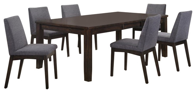Pyke 7 Piece Dining Set Table And 6 Side Chairs – Transitional For Walden 7 Piece Extension Dining Sets (Image 15 of 25)