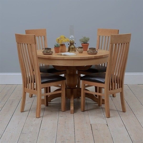 Quality Round Solid Oak Extend Cotswold Dining Table And Chairs For Cotswold Dining Tables (Image 23 of 25)