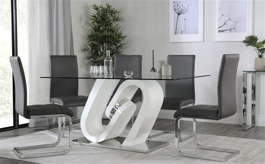 Quant White High Gloss And Glass Dining Table With 6 Perth Grey Regarding Perth Glass Dining Tables (View 17 of 25)
