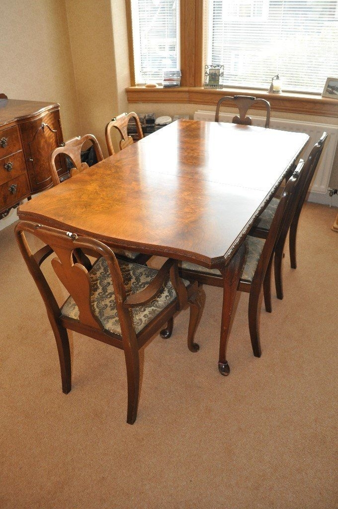 Queen Anne Style Burr Walnut Dining Table, Chairs And Sideboard | In regarding Walnut Dining Tables And Chairs
