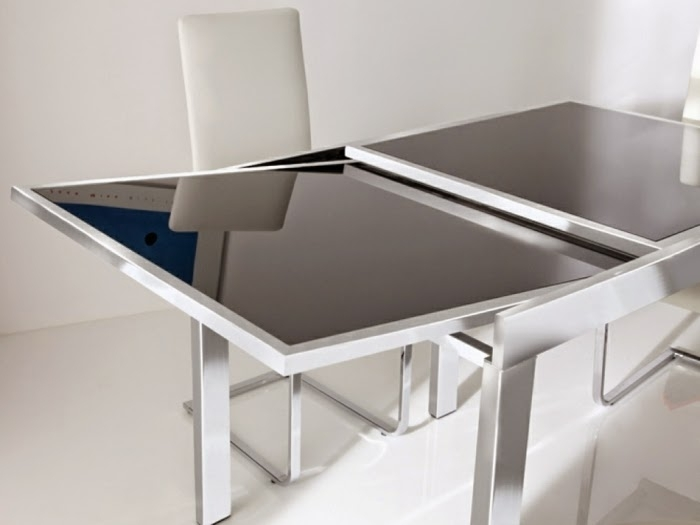 Queen Table: Glass Dining Table with Glass Folding Dining Tables
