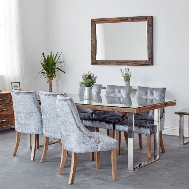 Railway Sleeper Wall Mirror In Railway Dining Tables (Image 14 of 25)