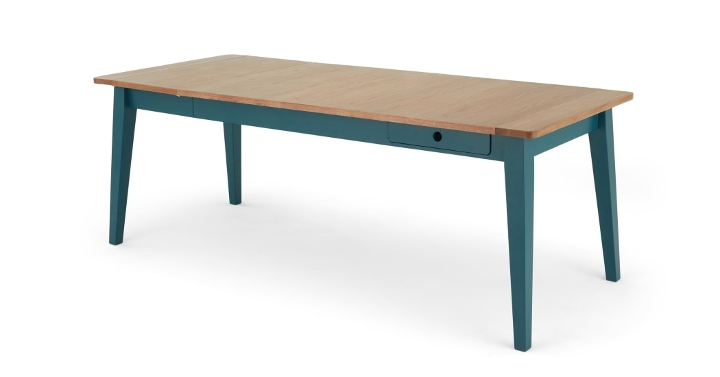 Ralph Dining Table, Oak And Teal | Made Throughout Dining Tables (View 13 of 25)