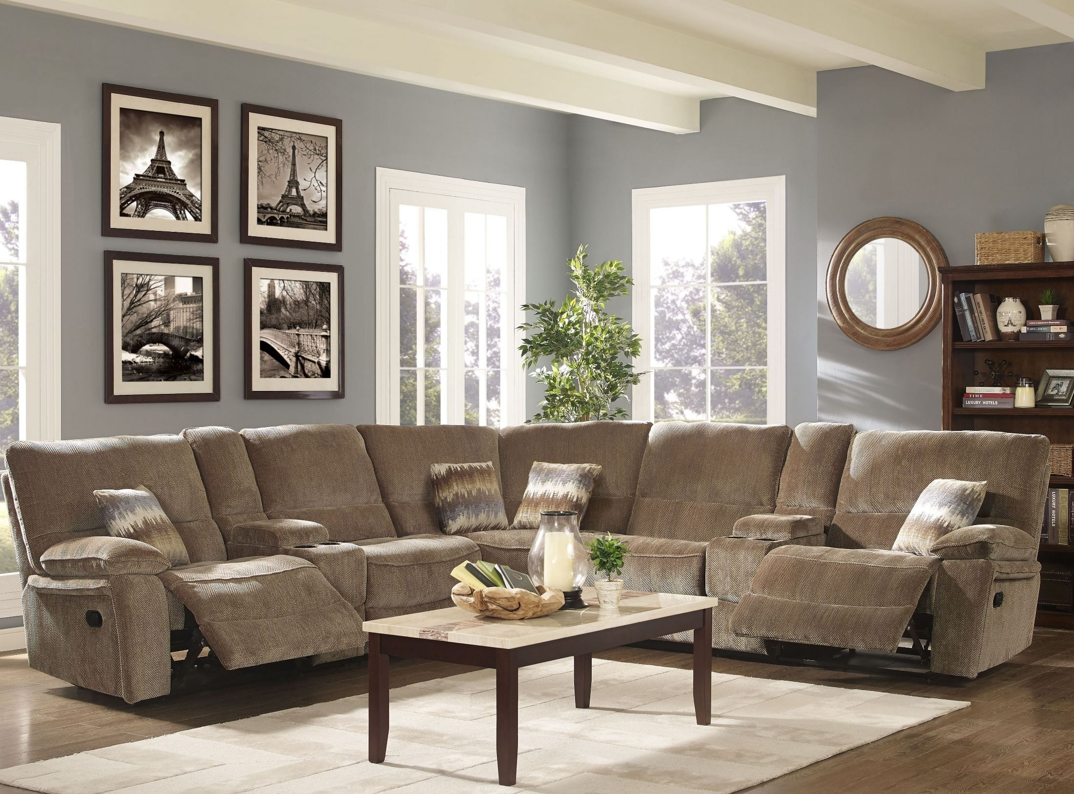 Ranger Bravo Sandalwood Power Reclining Sectional From New Classic Within Turdur 2 Piece Sectionals With Laf Loveseat (Image 21 of 25)