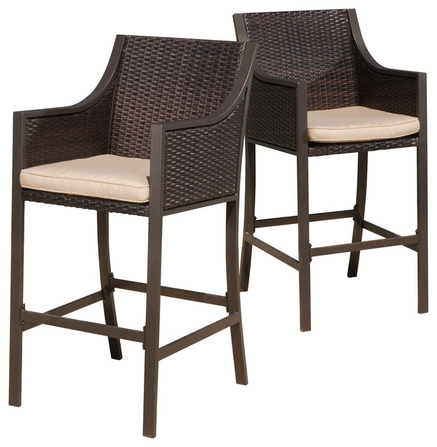 Rani Brown Outdoor Bar Stools, Set Of 2 – Tropical – Outdoor Bar Pertaining To Valencia 5 Piece Counter Sets With Counterstool (View 24 of 25)