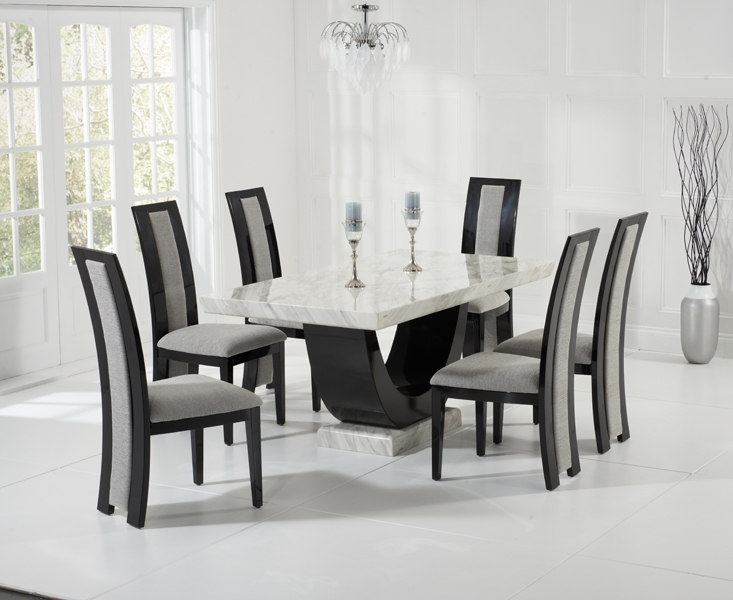 Raphael 170Cm Cream And Black Pedestal Marble Dining Table With In Marble Dining Tables Sets (View 2 of 25)