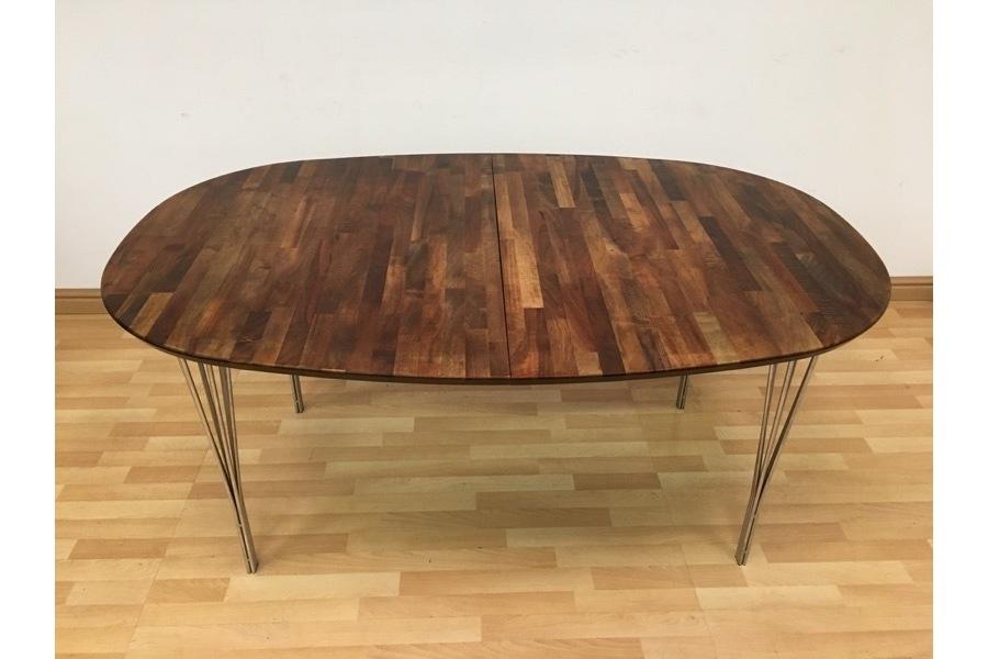 Rare Vintage Danish Parquet Dining Table On Hairpin Legshaslev In Parquet Dining Tables (Image 18 of 25)