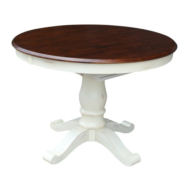 Rattan 42 Round Glass Top Dining Table Sets   Wayfair With Regard To Ina Pewter 60 Inch Counter Tables With Frosted Glass (Image 20 of 25)