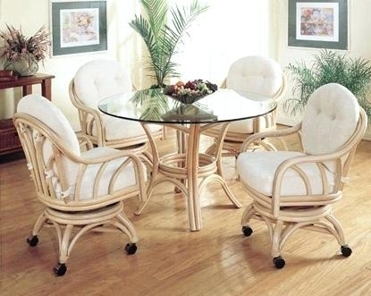 Rattan Dining Room Table And Chairs Set Wicker White Cottage Cot Within Rattan Dining Tables And Chairs (Image 14 of 25)