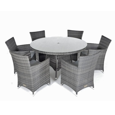 Rattan Dining Sets For 6 – Outside Edge Metal Garden Furniture Regarding Rattan Dining Tables And Chairs (Image 16 of 25)