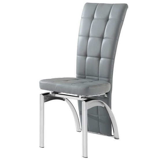 Ravenna Dining Chair In Grey Faux Leather With Chrome Base Pertaining To Purple Faux Leather Dining Chairs (Image 20 of 25)