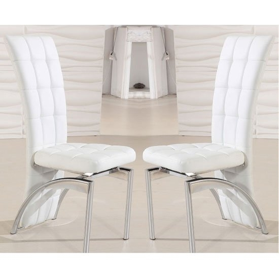 Ravenna Dining Chair In White Faux Leather In A Pair 19498 Throughout White Leather Dining Room Chairs (View 4 of 25)
