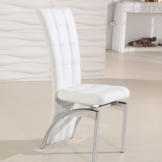 Ravenna White Faux Leather Dining Room Chair 19495 Pertaining To White Leather Dining Chairs (Image 14 of 25)