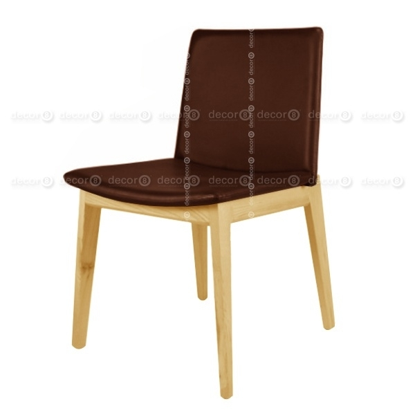 Raymond Upholstered Leather Dining Chair – Ash Legs – More Colors For Dark Brown Leather Dining Chairs (Image 19 of 25)