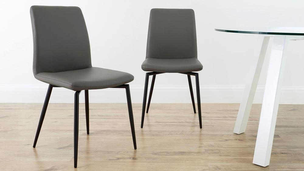 Real Leather Black Powder Coated Dining Chair | Uk In Real Leather Dining Chairs (View 18 of 25)