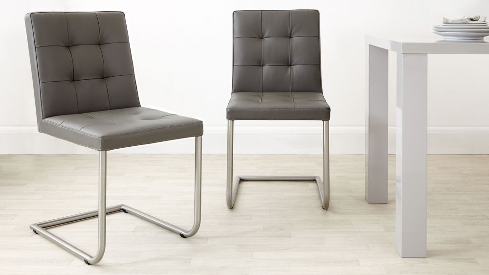 Real Leather Designer Dining Chair   Grey, White And Black Uk Within Leather Dining Chairs (View 3 of 25)
