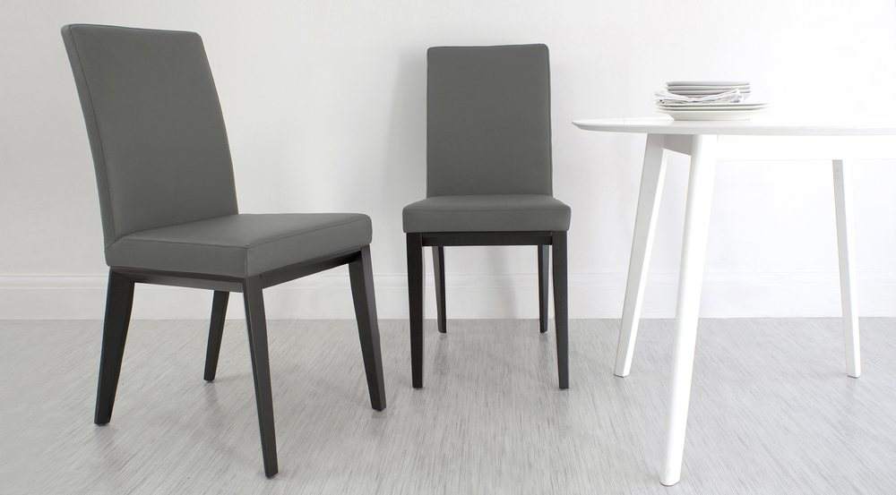 Real Leather Dining Chair With Black Wooden Legs| White, Black Or Grey Within Grey Dining Chairs (View 5 of 25)