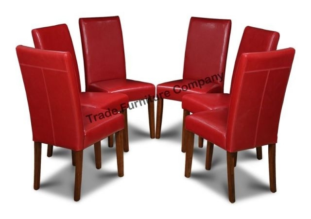 Real Red Leather Set Of 6 Dining Chairs In Leather Dining Chairs (View 13 of 25)