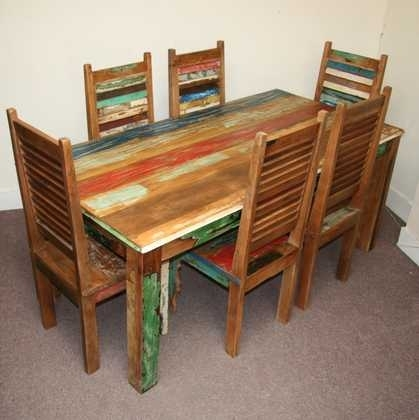 Reclaimed Dining Table And 6 Shutter Style Chairs – Jugs In Indian Style Dining Tables (Image 25 of 25)