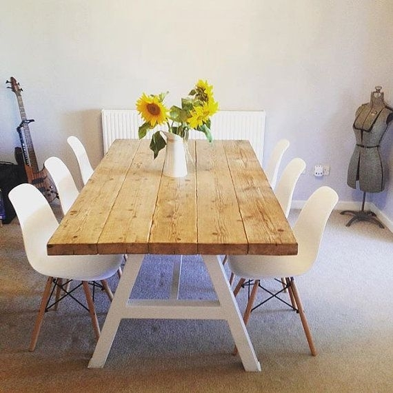 Reclaimed Industrial Chic A Frame 6 8 Seater Solid Wood & Metal With Regard To 8 Seater White Dining Tables (View 18 of 25)