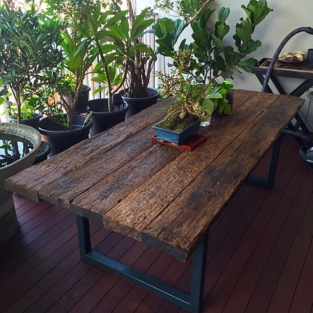 Reclaimed Railway Sleeper Wood Dining Table, Furniture On Carousell Pertaining To Railway Dining Tables (Image 16 of 25)