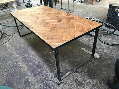 Reclaimed Solid Oak Parquet Industrial Chic 6 8 Seat Wood Steel Regarding Parquet Dining Tables (View 2 of 25)