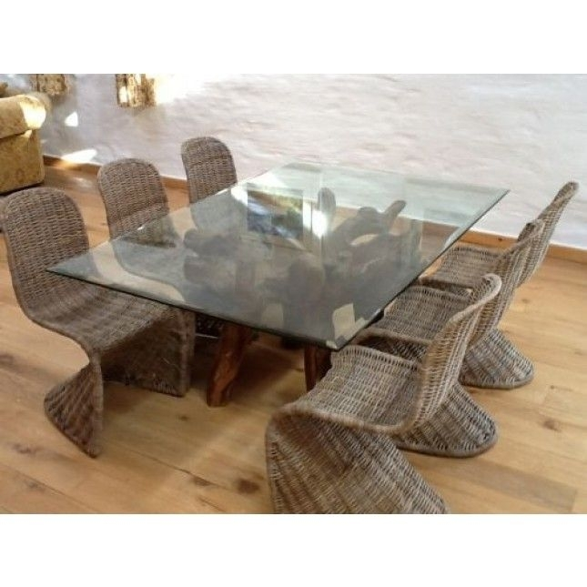 Reclaimed Teak Root Glass Topped Dining Table 1.8M X  (Image 12 of 25)