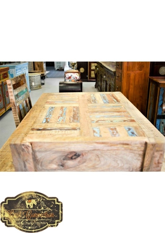 Reclaimed Timber Parquet Country Dining Table (6 Seat) For Parquet 6 Piece Dining Sets (View 19 of 25)