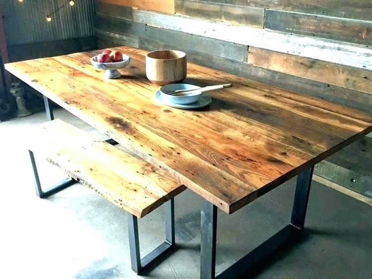 Reclaimed Wood And Iron Dining Table Reclaimed Wood Iron Dining Throughout Iron And Wood Dining Tables (Image 15 of 25)
