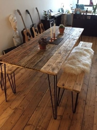 Reclaimed Wood Dining Table And X2 Benches With Hairpin Legs (View 4 of 25)