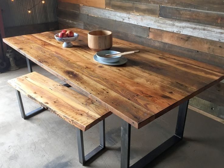 Reclaimed Wood Dining Table Industrial Modern Dining Table / U With Regard To Oval Reclaimed Wood Dining Tables (Image 13 of 25)