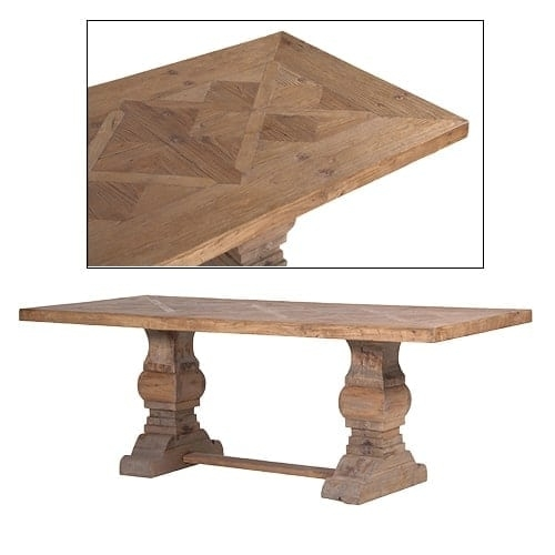 Reclaimed Wood Parquet Top Dining Table Furniture – La Maison Chic Pertaining To Parquet Dining Tables (Image 20 of 25)
