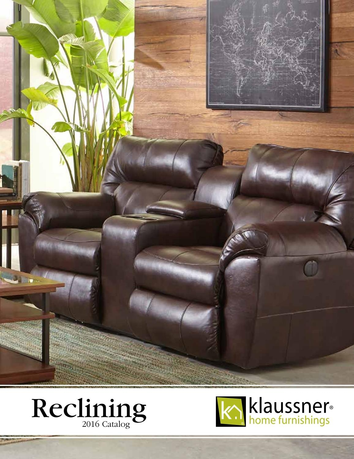 Reclining 2016 Catalogklaussner Home Furnishings – Issuu With Marcus Chocolate 6 Piece Sectionals With Power Headrest And Usb (Image 17 of 25)