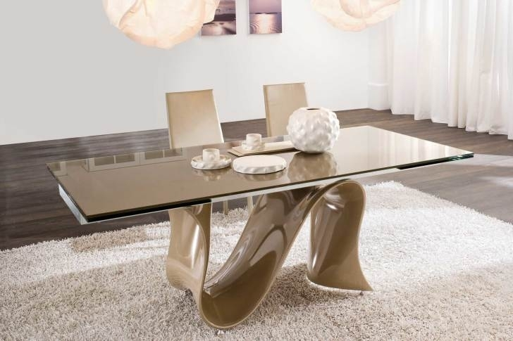 Rectangle Brown Glass Dining Table With Brown Acrylic Curved Base On Inside Curved Glass Dining Tables (View 14 of 25)