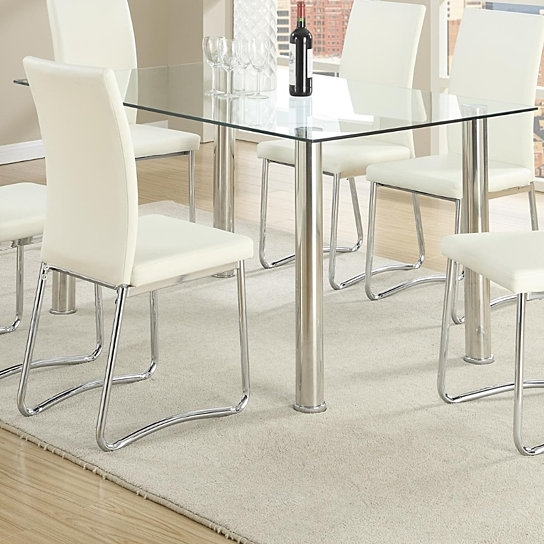 Rectangle Glass Dining Table With Chrome Legs – M&m Home Staging Pertaining To Chrome Glass Dining Tables (Image 16 of 25)